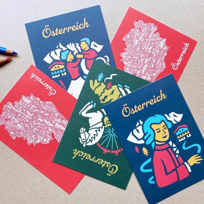 Österreich Postkarten Set