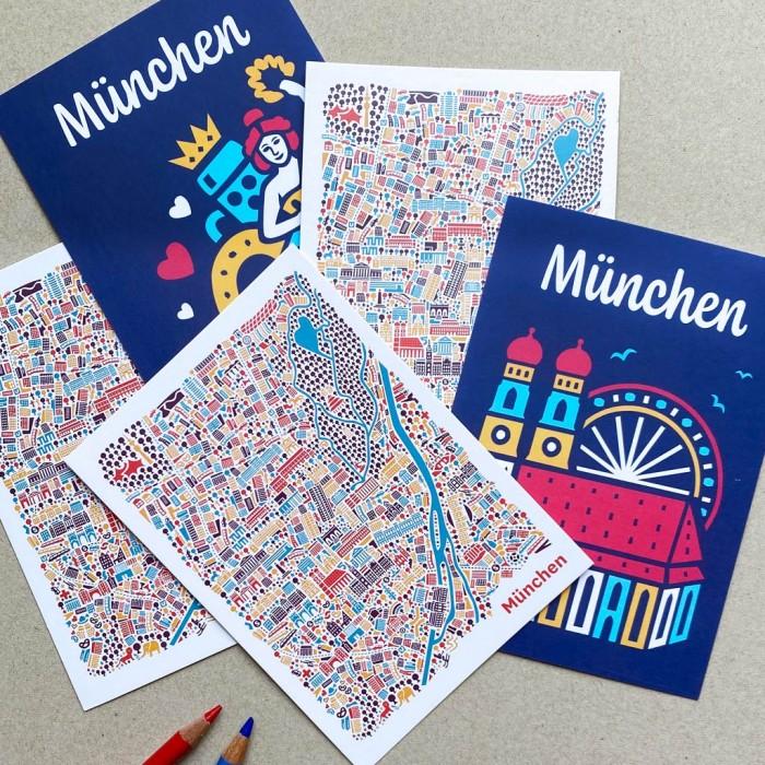 München Postkarten Set