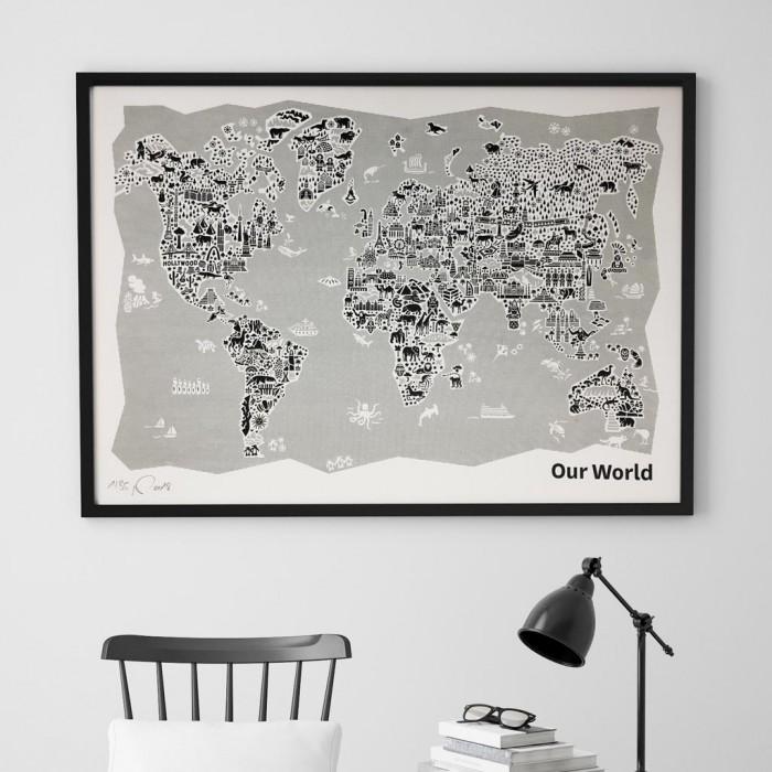 Weltkarte Siebdruck schwarz-weiß