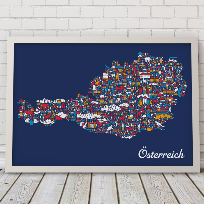 Österreich Karte Blau