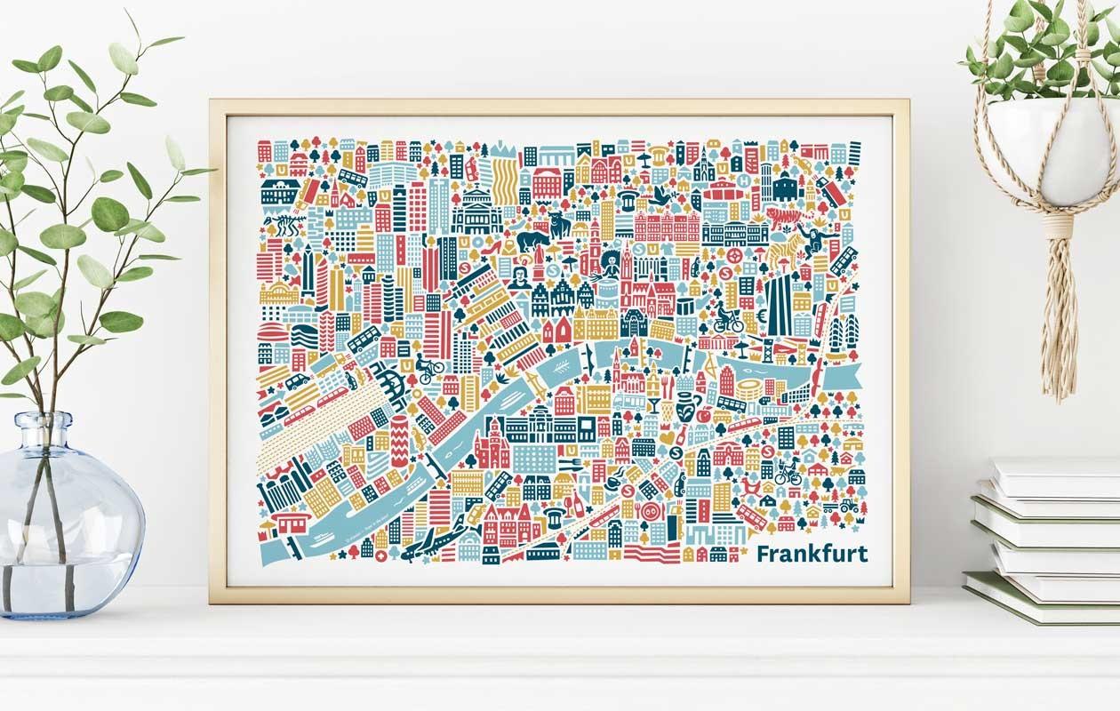 Vianina-Frankfurt-Stadtplanposter
