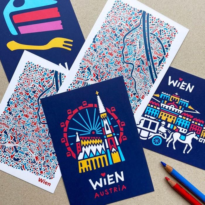 Wien Postkarten Set