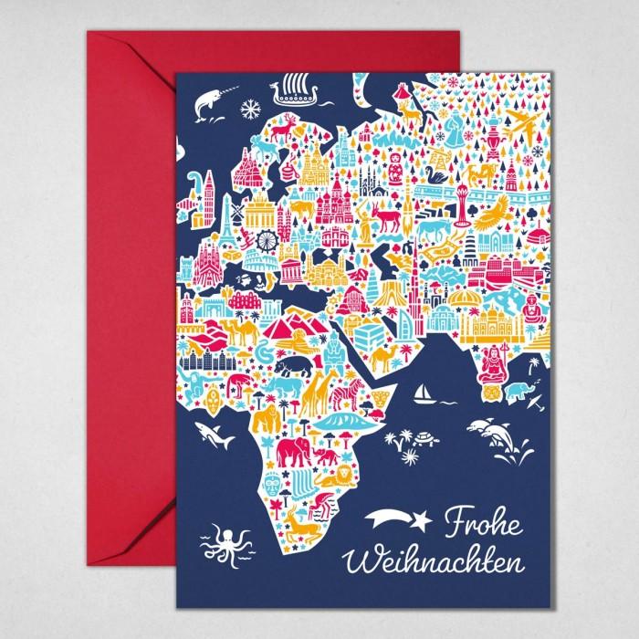 Weltkarte Weihnachtskarte