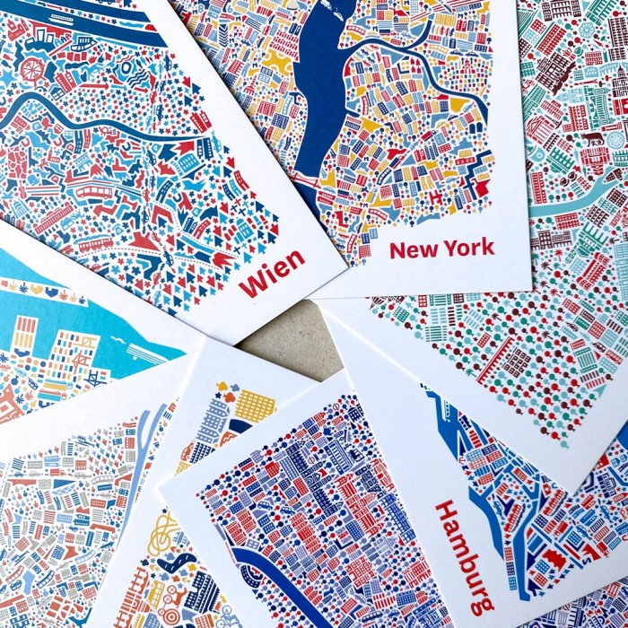 Stadtplan Postkarten Wien, New York, Rom, Hamburg, Paris