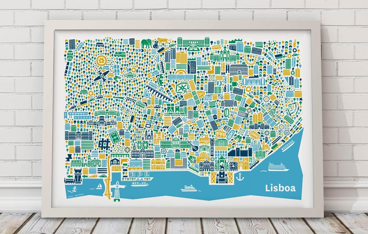 Vianina-Lissabon-Stadtplanposter