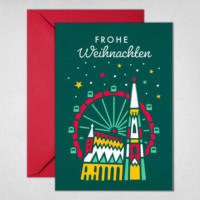 Stephansdom & Riesenrad Weihnachtskarte Tanne