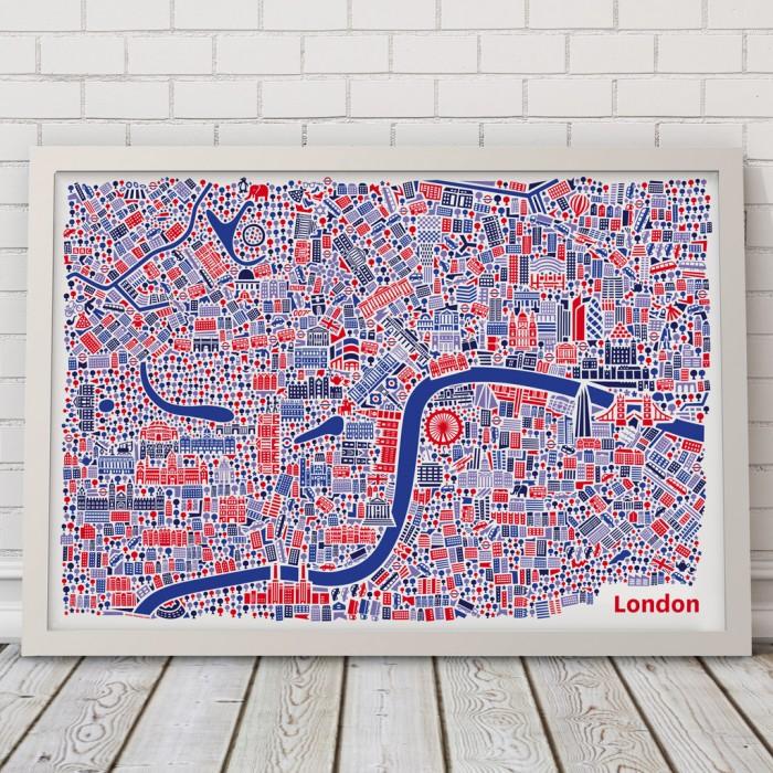 Vianina London Poster Stadtplan