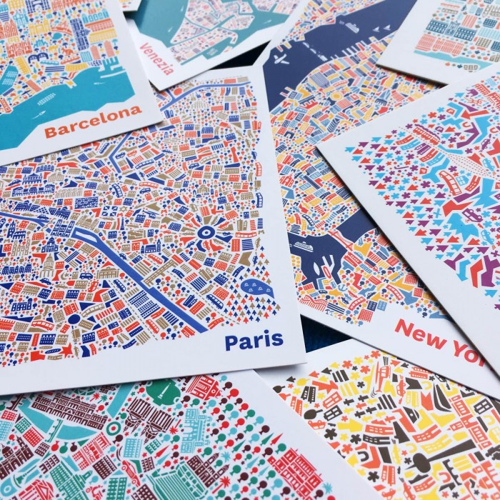 Stadplan Postkarten Set
