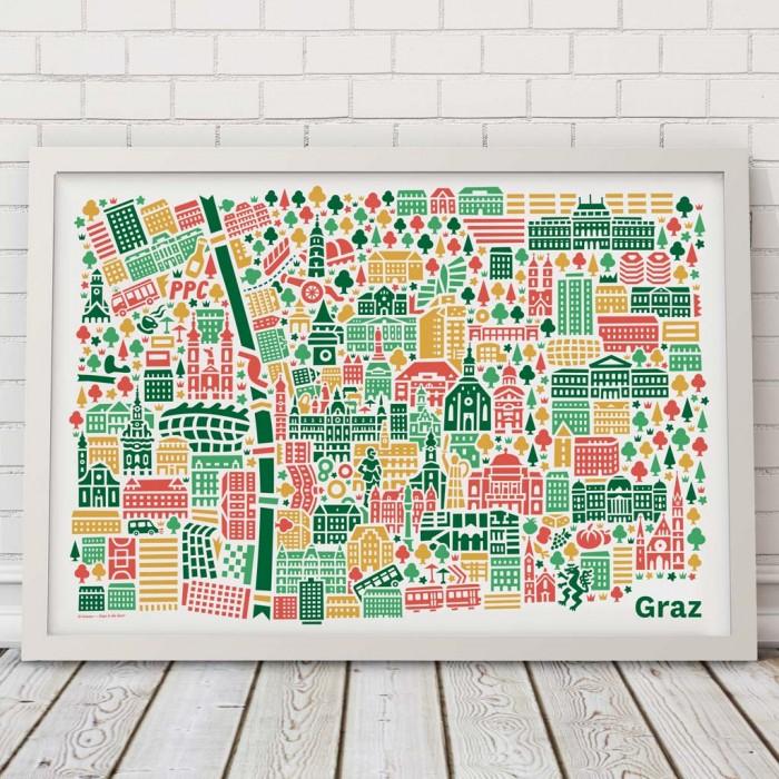 Graz Stadtplan Poster Steiermark